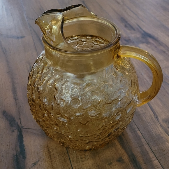 Vintage- Textured Glass Pitcher in Amber